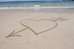 Love heart and arrow sand, costa rica Stock Photography