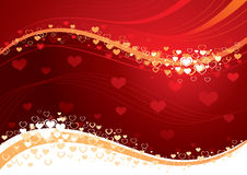 Love heart background. Illustration of decorative love hearts on swirling red background Stock Image