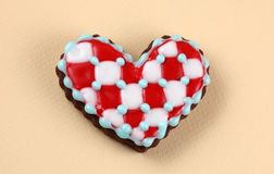 Love Heart Background. Heart cookie on a beige background Royalty Free Stock Photography
