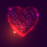 Love heart background from beautiful bright stars Stock Photos
