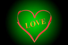 Love in heart. In the background of green Stock Photography