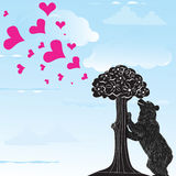 Love heart background with statue of Bear and strawberry tree and the words Madrid, Spain inside,. Illustration Royalty Free Stock Photos