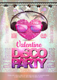 Love heart background. Valentine Disco party Royalty Free Stock Photo