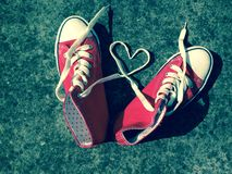 Love heart baseball boots sneakers laces Stock Photography