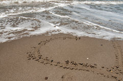 Love heart on the beach Stock Photo