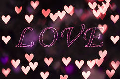 Love on the heart bokeh - Valentines Day background Stock Images