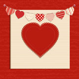Love heart and bunting background on red Royalty Free Stock Image