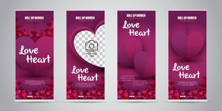 Love Heart Business Roll Up Banner with 4 Variant Designs Vector Illustration. Stock Images