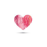 Love heart card. Pencil drawing sketch heart icon isolated over Stock Photos