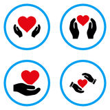 Love Heart Care Hands Rounded Vector Icons Stock Images