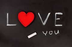 Love heart on a chalkboard Stock Image