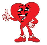 Love heart character. Illustration of red love hear shaped character making thumbs up gesture, isolated on white background Royalty Free Stock Photography
