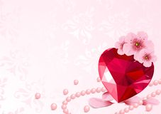 Love Heart and cherry blossom Stock Photo