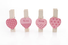 Love heart clip. Pink love heart paper clip Royalty Free Stock Image