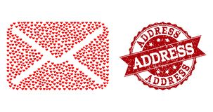Love Heart Collage of Letter Icon and Grunge Watermark royalty free illustration