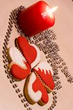 Love heart Cookies on the table for Valentine`s Day or Christmas. Royalty Free Stock Photos