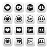 Love, heart, couple buttons for Valentine's day Royalty Free Stock Image