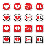 Love, heart, couple icons for Valentine's day Stock Image