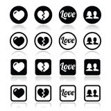 Love, heart, couple icons for Valentine's day Royalty Free Stock Image