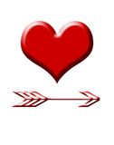 Love heart and cupids arrow Stock Image