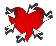 Love heart with cursor arrows around Royalty Free Stock Photo