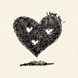 Love heart design on lined paper Stock Photo