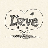 Love heart design on lined paper Stock Photography