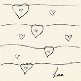 Love heart design on lined paper Royalty Free Stock Images