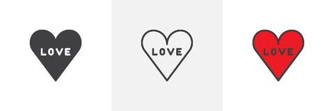 Love in heart different style icons Royalty Free Stock Images