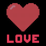 Love Heart on a Digital Grid Display. Red love heart and message on a digital grid display stock illustration