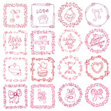 Love heart doodle brushes.Valentine,wedding frame. Valentine day,love Hand drawn  frames wreath with symbols and lettering.Romantic heart doodle textures,arrows Stock Images