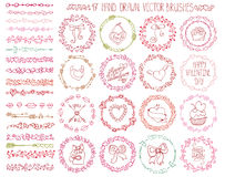 Love heart doodle brushes.Valentine,wedding wreath Royalty Free Stock Images
