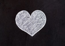 Love heart - drawing with chalk. Lover of the heart drawn with chalk on a wooden board for all who love Royalty Free Stock Image
