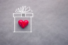 Love heart in drawing present box Royalty Free Stock Photos
