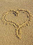 Love Heart Drawn In The Sand Stock Images