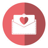 Love heart  envelope mail valentine letter shadow. Vector illustration eps 10 Royalty Free Stock Photos