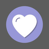 Love, heart, favorite flat icon. Round colorful button, circular vector sign with shadow effect. Flat style design. Stock Image