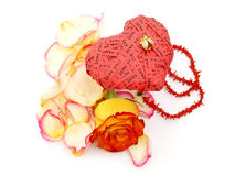 Love heart and flower petals Royalty Free Stock Photo