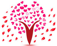 Love heart flowers on pink tree Stock Image