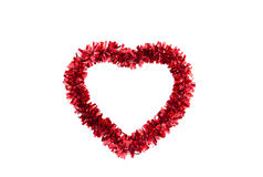 Love Heart Frame Made of Tinsel Stock Photos
