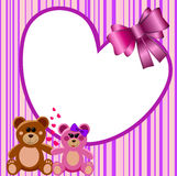 Love Heart Frame Teddy Bears. Illustration featuring decorative square valentine Love Frame or Border with a couple of teddy bears in love hand in hand and a big Royalty Free Stock Images
