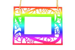 love and heart frame on white background Royalty Free Stock Images