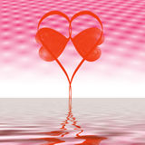 Love heart graphic. With horizon and ripples Stock Photos