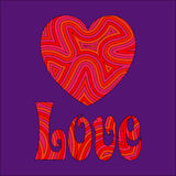 Love & Heart in Groovy Swirls. Psychedelic love. Be my Groovy Valentine stock illustration