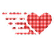 Love Heart Halftone Dotted Icon with Fast Rush Effect stock illustration