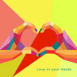 Love Heart in Hands Valentines day Greeting card g stock photo