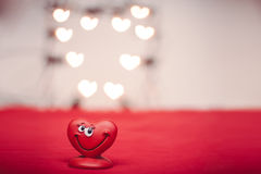 Love heart. Happy red love heart with heart bokeh Valentines Day background stock illustration