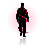 Love or heart health care prevention. Vectored illustration of standing man with heart shaped artworks around his body related to love or more important heart stock illustration