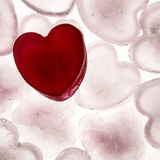Love heart. Ice cubes in the shape of a love heart melting into water Stock Photography