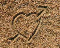 Love heart icon in the sand Royalty Free Stock Image